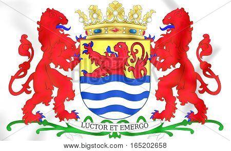 Zeeland Coat Of Arms, Netherlands. 3D Illustration.