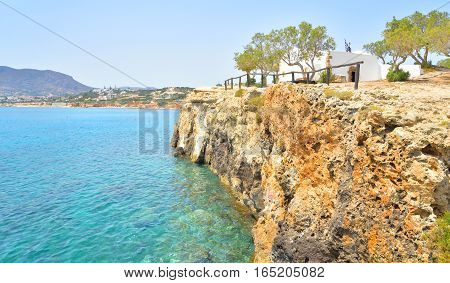Crete island coast near Hersonissos at sunny summer day Greece.