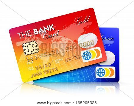 3D render illustration of the set of color plastic bank credit cards isolated on white background with reflection effect