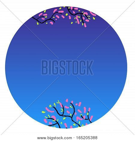 Chinese New Year, 2017. Peach blossom in China is a symbol of romance, love, growth, prosperity and long life. Hand drawn sketchy cartoon clip-art in circle, vector illustration for greeting card