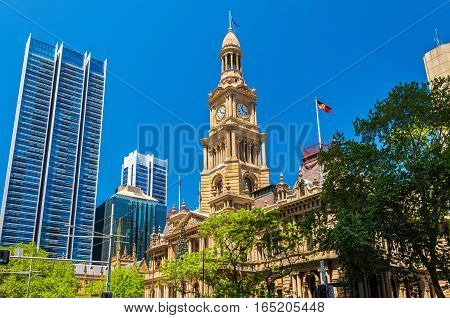 The Sydney Town Hall in Australia, New South Wales. Built in 1889