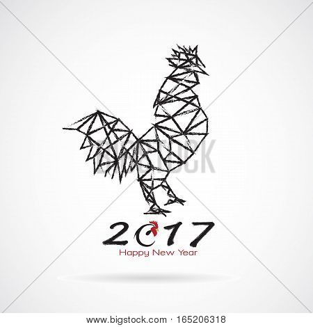 Vector illustration of rooster 2017 new year card year of the rooster.