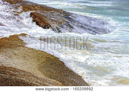 Water dripping between rocks on Devil beach