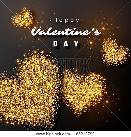 Valentine's day design. Realistic luxury golden hearts and glowing lights. Black color background. Vector illustration.