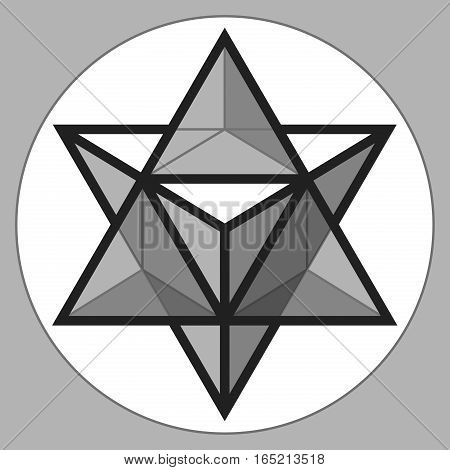 Merkaba, 3d glass crystal, geometry shape, volume star, abstract vector object