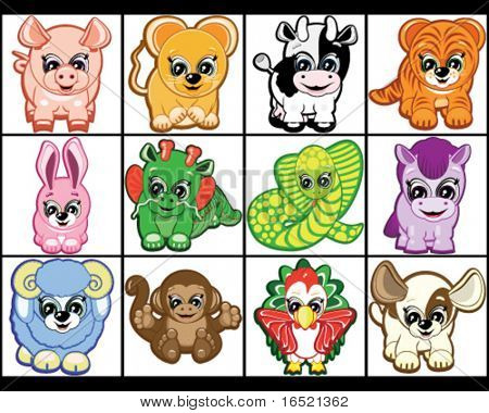 Chinese Horoscope - set of the animals.