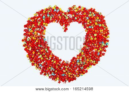 red star paper heart shape on white backgroundcopy space for your text clipping path
