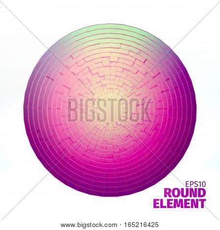 Radial vector ornament. Angular grid of 3d boxes. Background for web