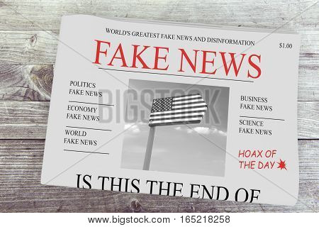 Fake News US Concept: Newspaper Front Page 3d illustration on wood