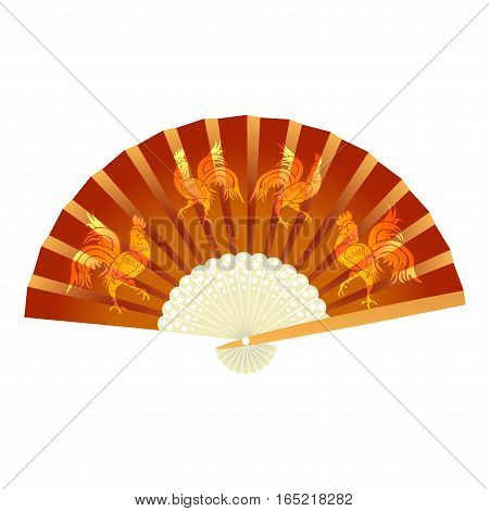 Folding fan. With a picture of the cock. 2017 fire rooster. Vector illustration