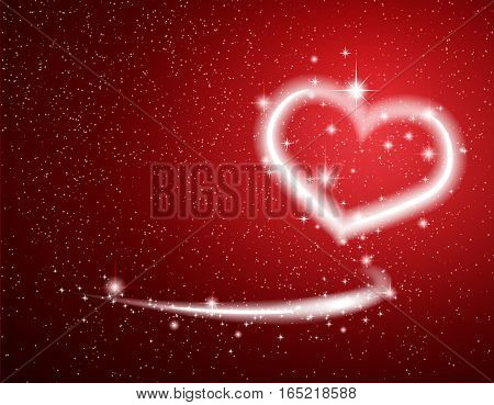 White Heart Star Snow on Red Background for Valentine