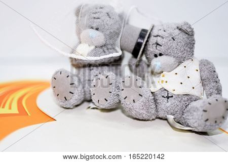 Two Teddy Bears in wedding abstraction. Isolated on white background.