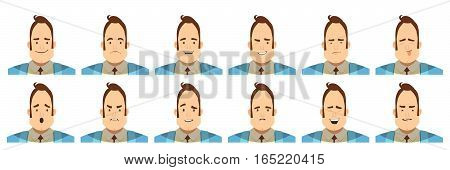 Set of avatars with male emotions including joy doubt and anger cartoon style isolated vector illustration