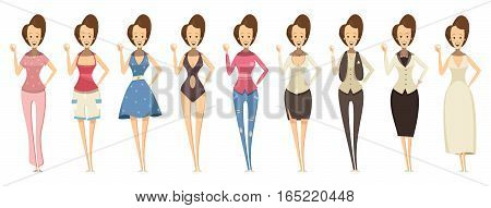Smiling woman in confident pose and in various outfits set in cartoon style isolated vector illustration