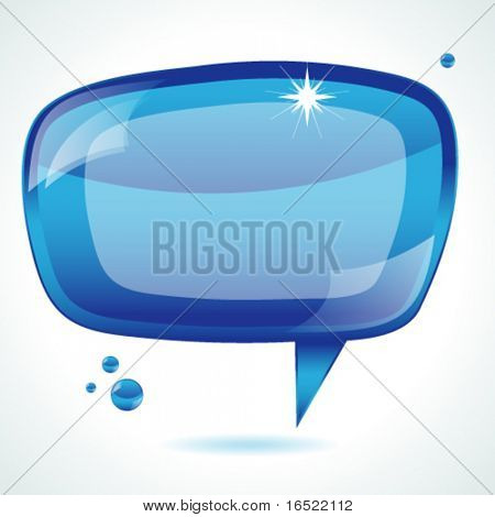 Blue glossy speech bubble - vector background