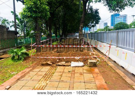 Pedestrian under construction photo taken in Jakarta Indonesia java