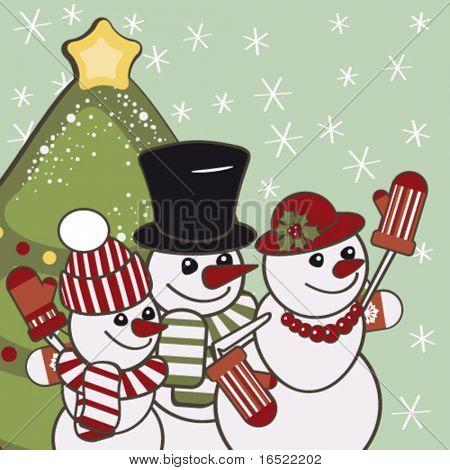 Retro Weihnachtskarte mit einer Familie von Schneemänner.