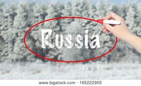 Woman Hand Writing Russia With A Marker Over Winter Forest.