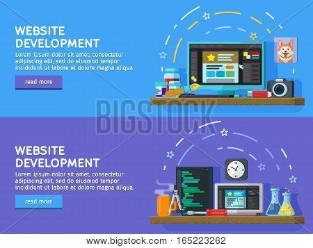 Set of flat color banners design concepts for web studio. Programming and coding. Website development Web design. Modern flat design for Web Banner Website Element. Vector illustration