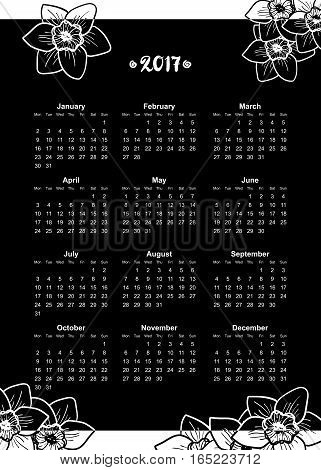 Narcissus Flowers design element, hand drawn vector background. Black and white. Calendar for 2017, week starts on Monday
