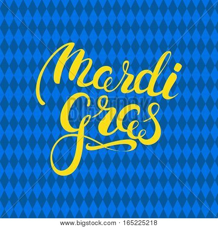Carnival yellow callygraphy. Mardi Gras holiday card design template. Vector Illustration.