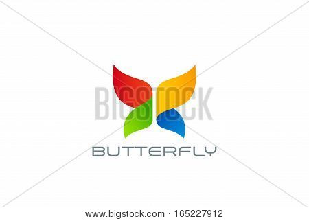 Butterfly Logo design abstract vector template. Colorful Entertainment logotype concept icon