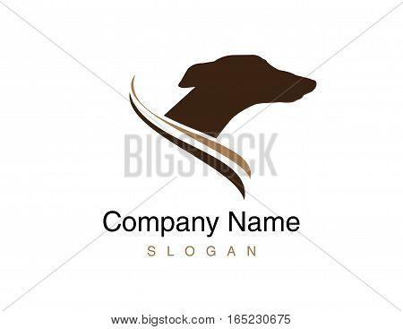 Greyhound dog logo head on white background
