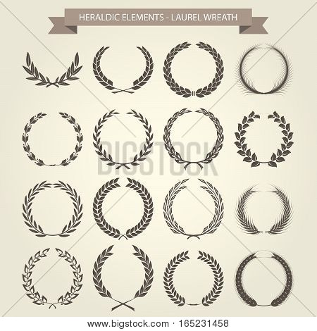 Vintage Laurel Wreaths set in different style