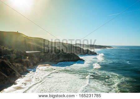 Westcoast highway number 1 sunny coast California in USA