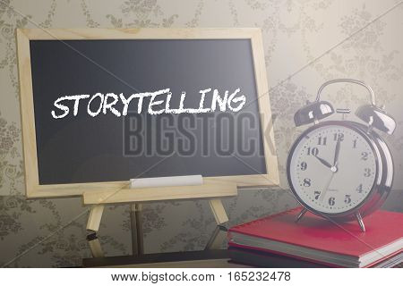 Storytelling on blackboard with watch and flare
