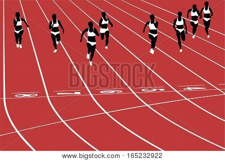 sprint female runners on tracks of stadium black silhouette