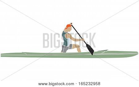 colored silhouette of an athlete on a sports canoe with paddle