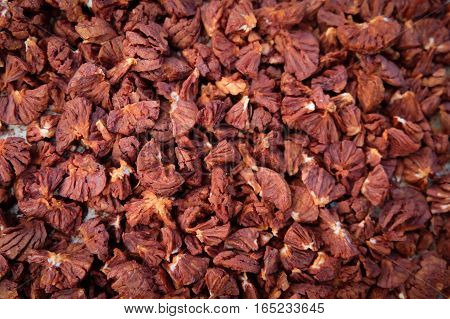 Mak dry, a shortage of red dried for preservation.