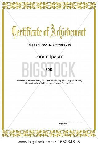 Certificate template with golden frame and title in ancient font, vector eps10