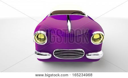 Funny purple toy car cabriolet . 3D render