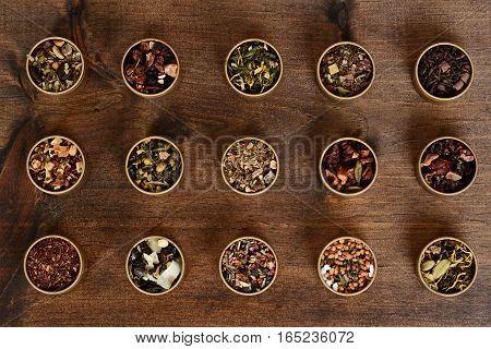 assorted organic herbal tea in metal tins