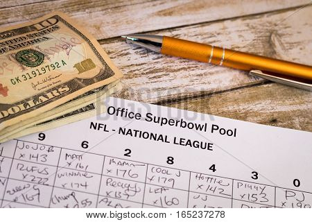 Office Superbowl Pool is a common and friendly betting practice for American football