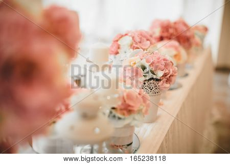 Flower Wedding Decoration On The Table