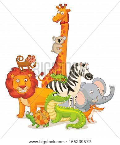 Wild Animals, posing together. Funny cartoon character. Vector illustration. Isolated on white background. Set
