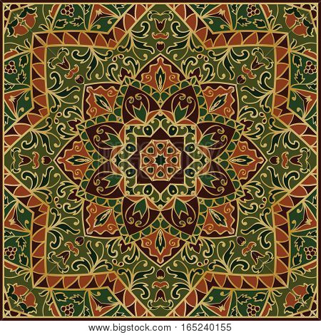 Oriental pattern of mandalas. Vector rich ornament with floral elements. Template for textile carpet shawls.