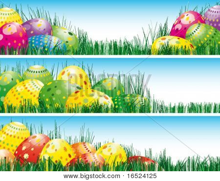 Easter banners with colorful Easter eggs in the young green grass.