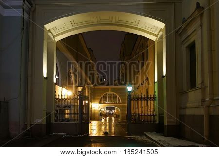 Evening Saint-Petersburg in New year's eve the gates of the Winter Palace on Millionnaya street