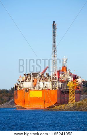 Specialized ship to support the oil industry.