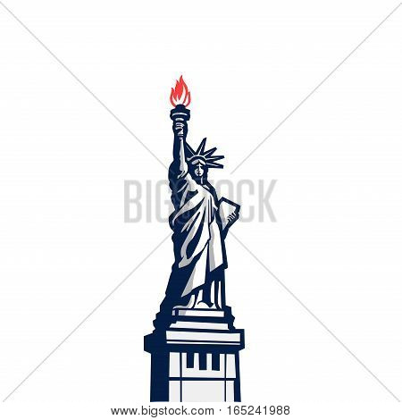 Liberty statue monument vector silhouette full body. USA New York Patriotic symbol color design element.