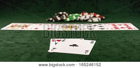 Poker distribution of cards lying on the green cloth