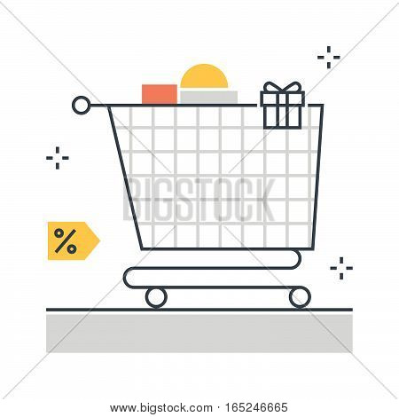 Color Line, Shopping Cart Illustration Concept Illustration, Icon