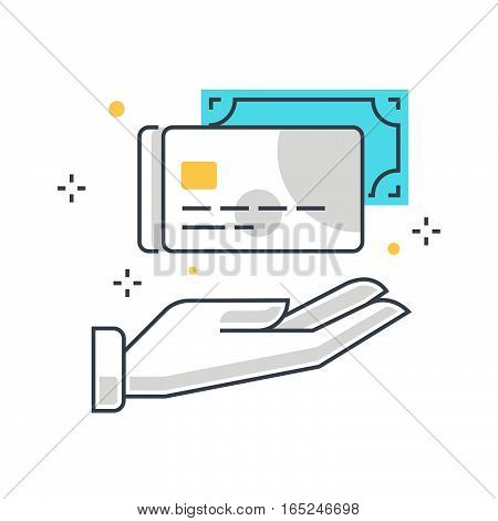 Color Line, Payment Options Illustration Concept Illustration, Icon
