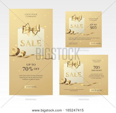 Set of elegant golden sale banners of different sizes with paper shopping bag, bow and ribbon. Vector background for discount offer and promotion design. Isolated from the background.