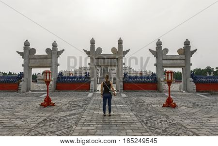 Large archway at the Temple of Heaven angle shot