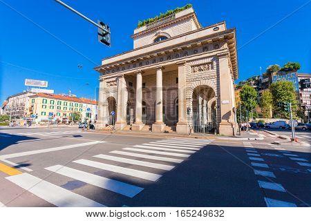 MILAN ITALY - September 06 2016: A street view of beautiful historic landmark - Porta Venezia (crossroad on Avenue Buenos Aires and street Bastioni di Porta Venezia)